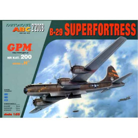 B-29 SUPERFORTRESS, 1:33. maqueta recortable.