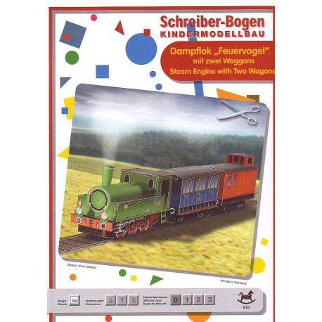 Locomotora con dos vagones
