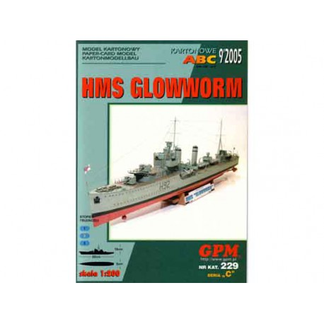 HMS Glowworm, 1:200. Maqueta recortable