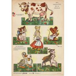 """Láminas antiguas para recortar, """"Mis amiguitos de la granja""""."""