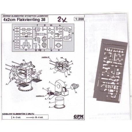 4x2cm Flakvierrling 38, 1:200, GPM, Set de detalle en papel. Ant