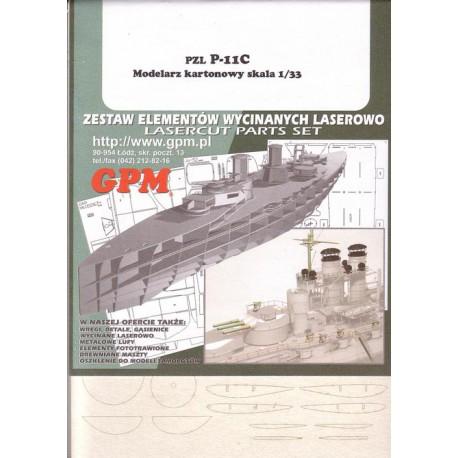 PZL P. 11c, 1:33, Modelarz Kartonowy, laser frames