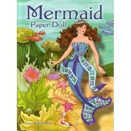 Mermaid Paper doll, Eileen Rudisill. Sirena de papel