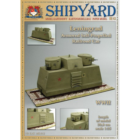 Leningrad Armored Self-Propelled Railroad Car, 1:25 + laser frames