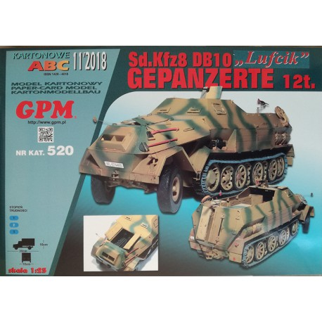 LUFCIK Sd.Kfz 8 Gepanzerte DB 10 12t.- set, model, laser cut frames and caterpillars. Modelo y laser frames, 1:25, GPM